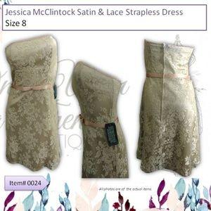 Jessica McClintock Satin/Lace Strapless Dress Sz 8